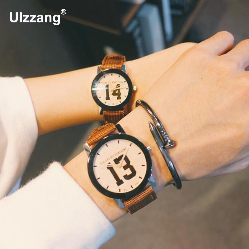 Fashion 1pc Original Ulzzang Brand Ribbon 13 14 Lover Couple Quartz Wrist Watch Gift for Men Women Male Female santic 2017 men cycling jerseys summer short sleeve mtb breathable downhill dh bike clothes road bicycle clothing ropa ciclismo