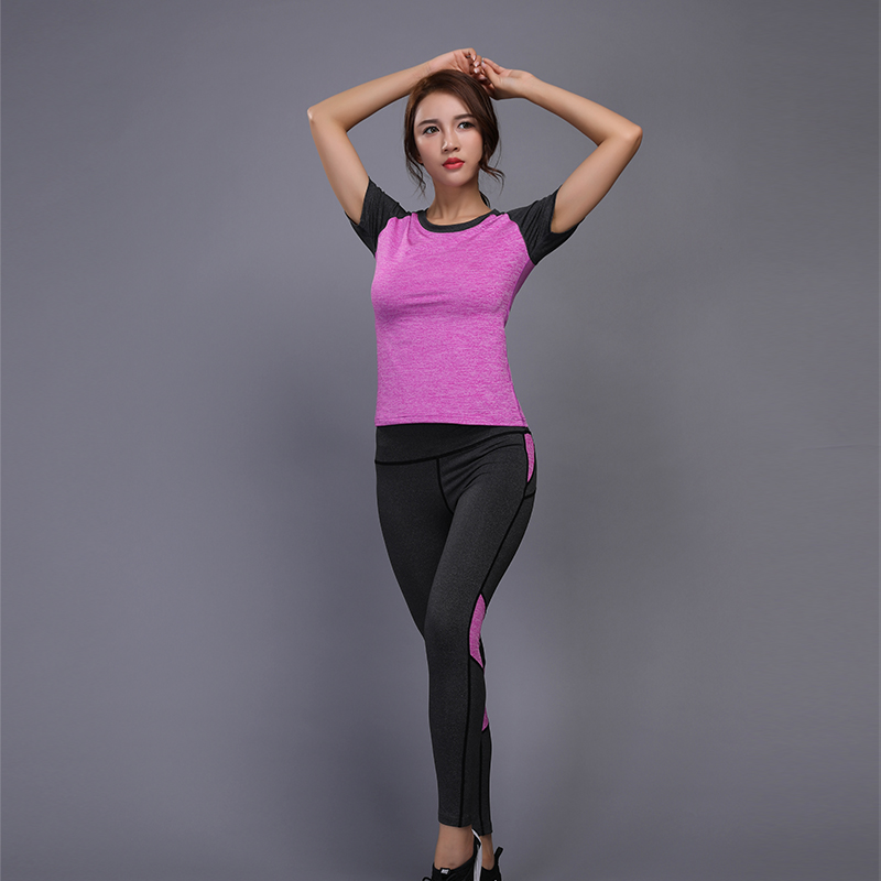 Sexy Yoga Set Women Fitness Running Shirt+Pants Breathable Gym Workout Clothes Compresse ...