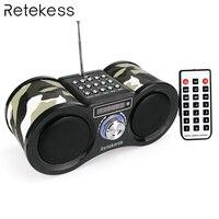Retekess V113 FM Радио стерео цифровой радиоприемник Динамик USB диск TF карта MP3 плеера камуфляж + дистанционное Управление
