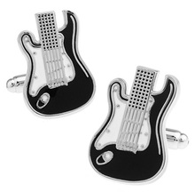 Men Jewellery Guitar Cufflinks Wholesale&retail Black Color Copper Musical Instruments Design Best Gift For Men