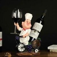 Funny Chef Bottle Rack Decorative Tabletop Cook Cask Wine Bottle Holder Goblet Stand Beverage Barware Ornament Craft Accessories