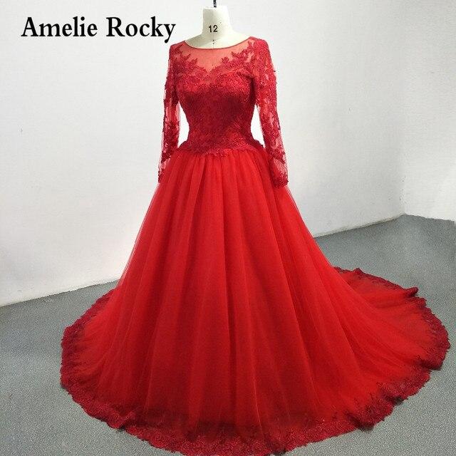 7d5e977d5c Suknie z rzeczywistym zdjęciem De Novia 2019 czerwone suknie ślubne z  długim rękawem księżniczka suknie balowe