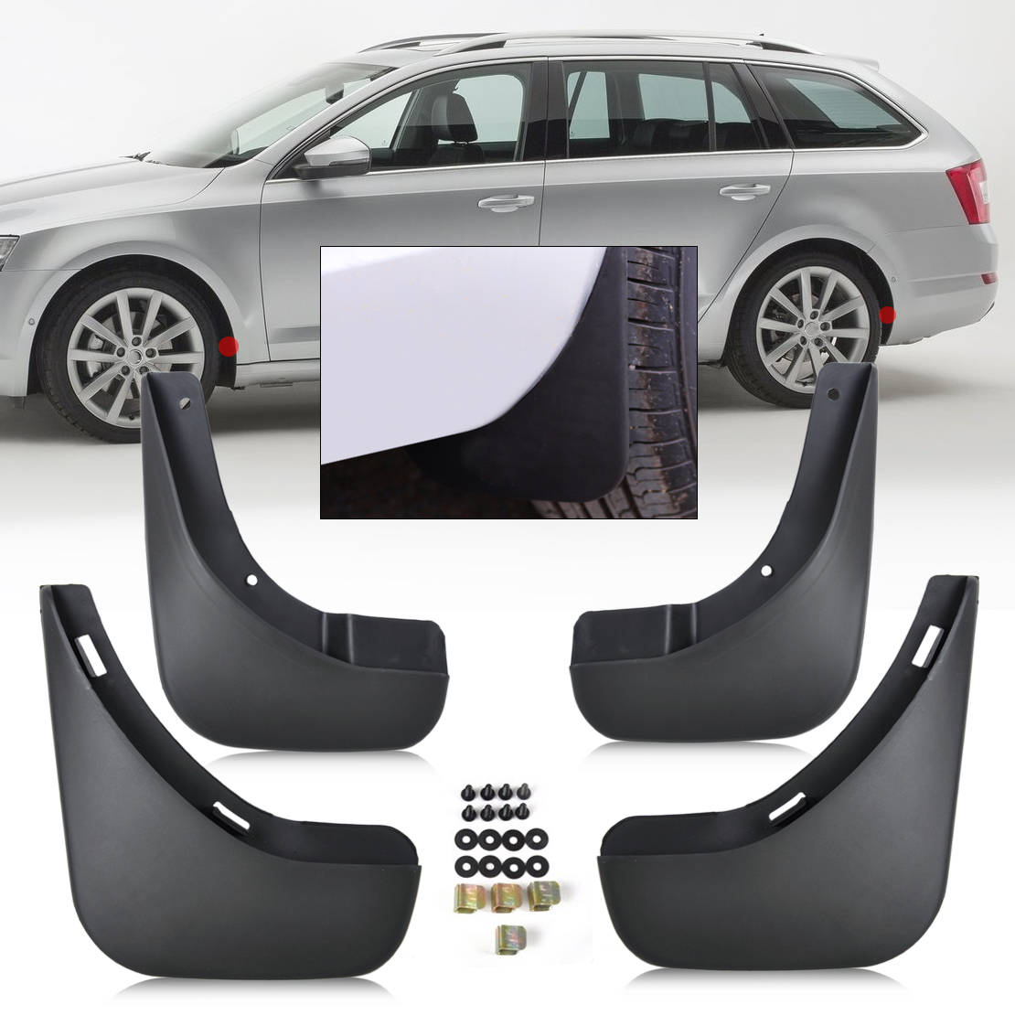 DWCX 4pcs Mud Flaps Splash Guards Mudguard Fender For Skoda Octavia 4-door Saloon 2004 2005 2006 2007 2008 2009 2010 2011 2012 стоимость