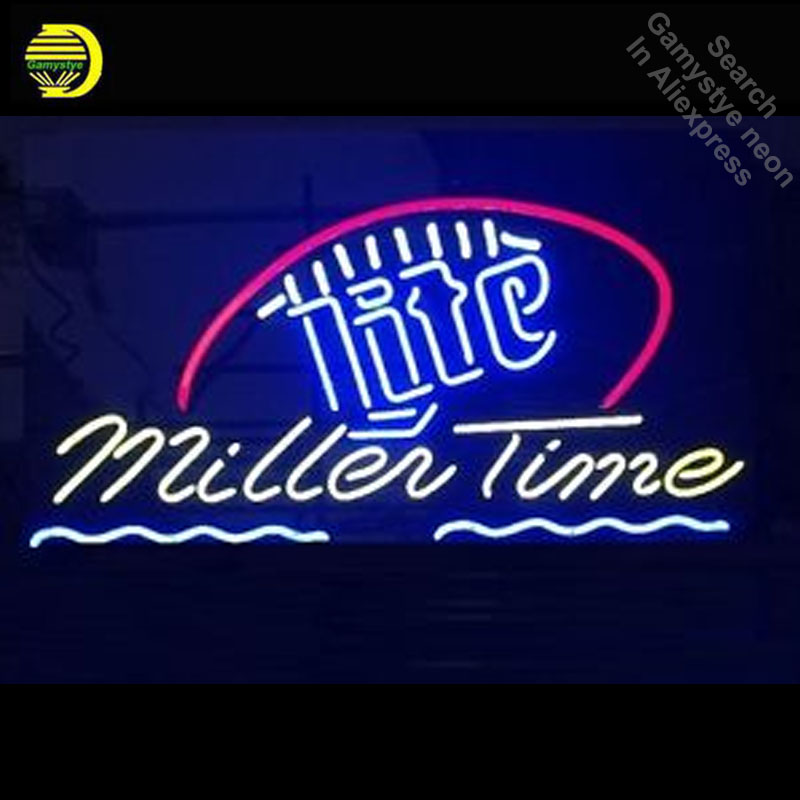 It's Miller Time Miller Lite Football Neon Sign Neon Bulb Sign Light Room Recreation Glass Tube Handcraft Affiche indoor lamps