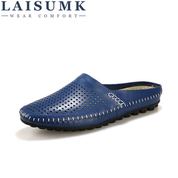 LAISUMK Summer Slippers Men 2019 New Hollow Out Breathable Beach Sandals Shoes men Casual Slip-on Flats Flip Flops zapatos