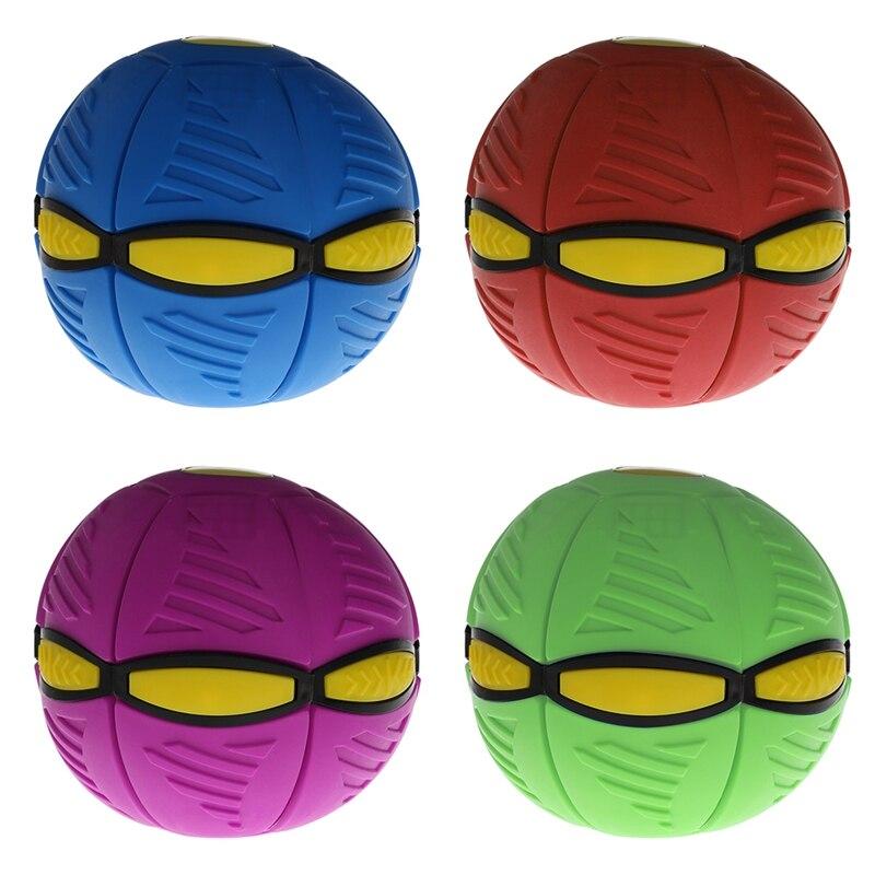 Flying UFO Flat Throw Disc Ball With LED Light Toy Kid Outdoor Garden Beach Game Begleri Kendama Stress Ball