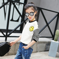 Striped Threaded Long Sleeve Round Collar Cartoon Smile Print Girl T-Shirts 017 New Spring Cotton Girl Striped Sports T-Shirts