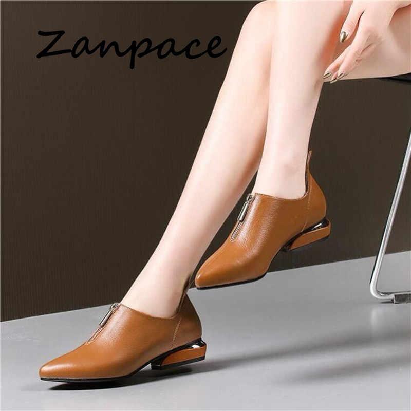Zanpace Neue 2019 Frühling Frauen Stiefel Starke Ferse Flache Stiefel anti-slip Frauen Ankle Schuhe Herbst Mode Leder Stiefel größe 35-40