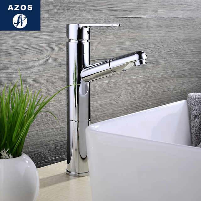 Bathroom Sink Faucets Pull Out Hose Spray 2 Design Chrome Polish Silver Nickle White Porcelain Solid