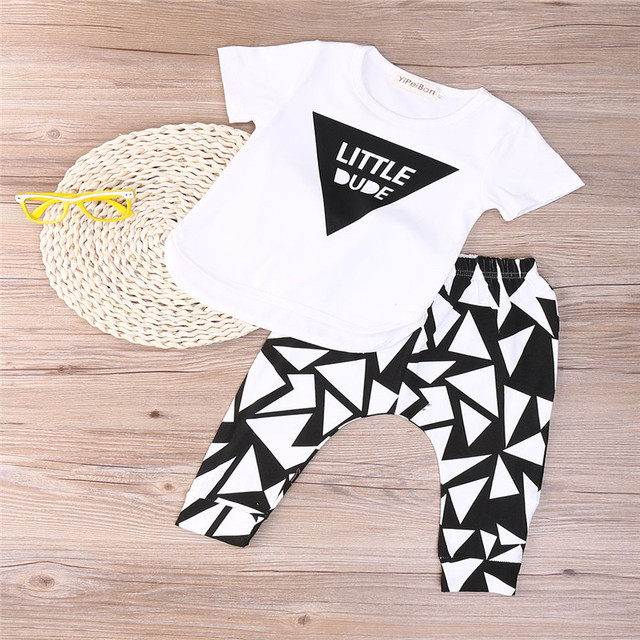 78bdc37dd8db Newborn Baby Boy Clothes Baby Boy Letters Printed Funky Clothes Set Summer  2 Piece Top Pants Outfits
