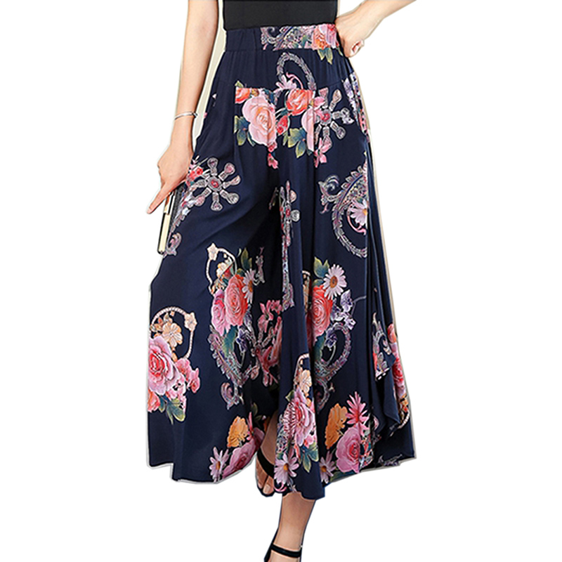 2019 Hot new lady wide leg   pants   women Summer beach high waist trousers Chic streetwear casual   pants     capris   female