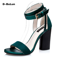D-BuLun women sandals Fashion ankle strap wedding shoes Rome style Red bottom thick high heels Gladiator sandals shoes women