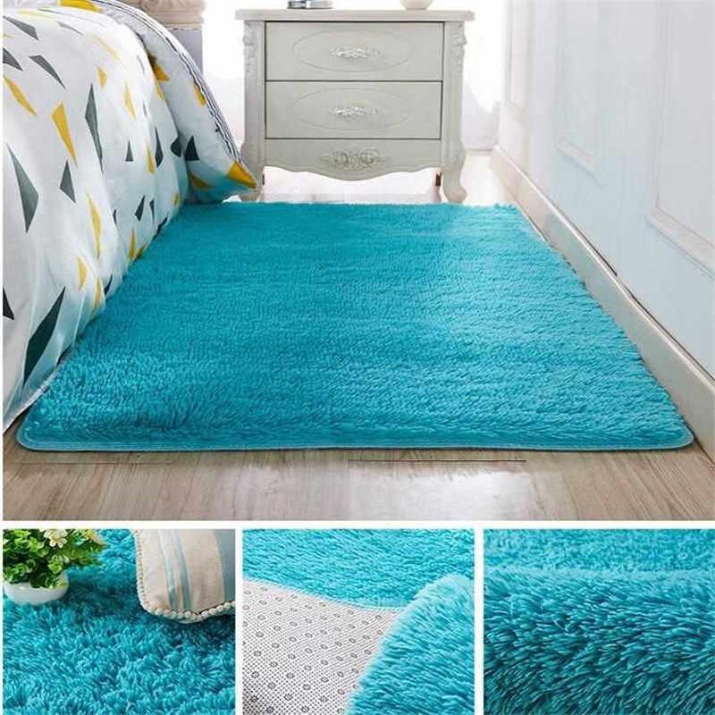 אירופאי מודרני מלבני שמיכת ארוך שיער החלקה משי רצפת מחצלת סלון שולחן קפה שטיח מיטת חדר שינה עבה שטיח