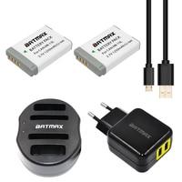 Batmax 2pcs NB-13L NB 13L NB13L 4-Porta Da Bateria + USB Carregador de bateria para Canon PowerShot G5 X G5X g7 X G7X G9 X G9X + UE/EUA Adaptador AC