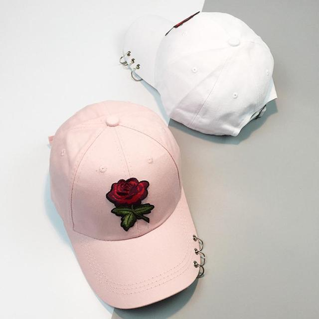 New Summer Femmes 2017 Casual Casquette de baseball Fleur Broderie De  Chapeau Rose Noir Blanc Snapback