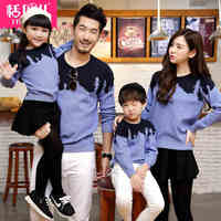 Matching Family Clothes 2015 Autumn Style Sweater Family Look Matching Mother Father Daughter Son Long Sleeve