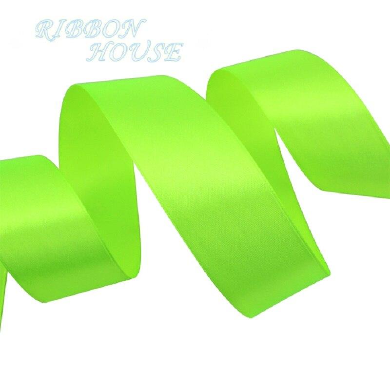 (25 ярдов/рулон) 40 мм флуоресцентные зеленые Тесьма украшение лента Одноместный Уход за кожей лица атласная лента Подарочная Рождество Ленты