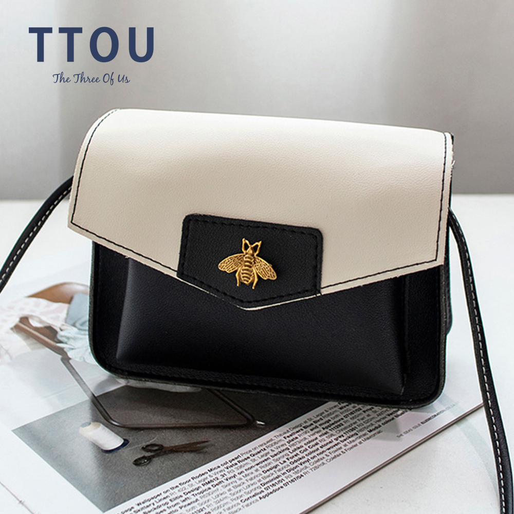 Fashion Small Crossbody Bags For Women Mini PU Leather Shoulder Bag Patchwork Color Bee Pattern Bolsas Ladies Phone Purse