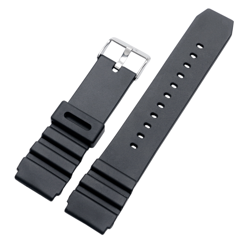все цены на 10pcs/Lot 18mm 20mm 22mm Watchband Black Silicone Rubber Watch Band Soft Strap Bracelet Waterproof Pin Buckle Type онлайн
