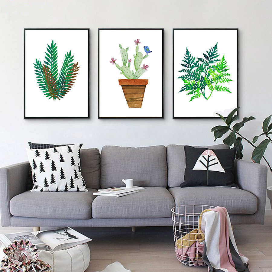 Buy nature green plant leafs cactus art for Best stores for home decor