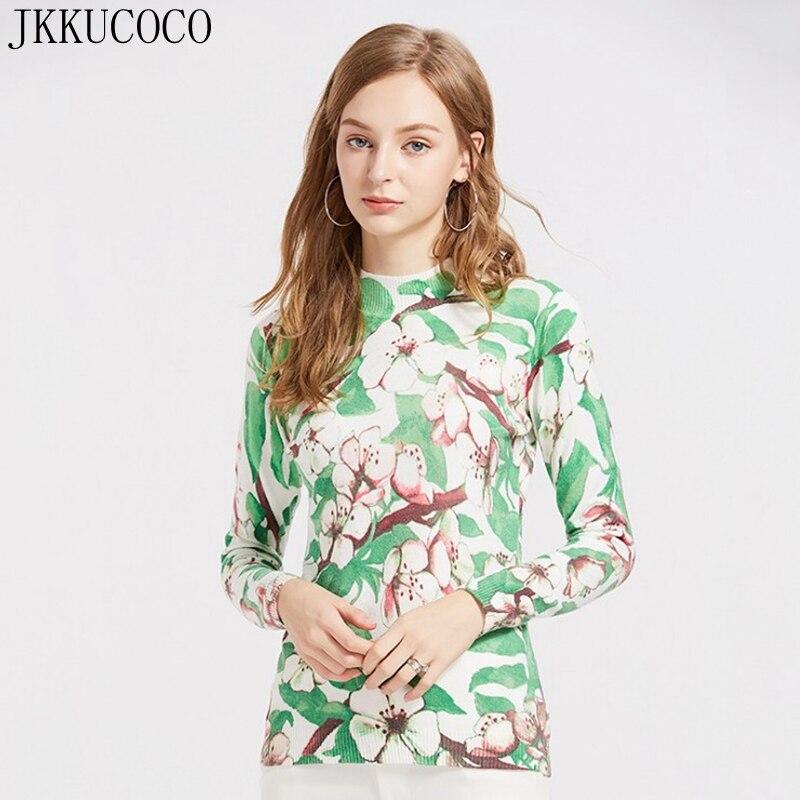 JKKUCOCO lapin laine couvrant fil chaud hiver chandails femmes pull imprimer fleurs demi col roulé pull pull 11 couleurs