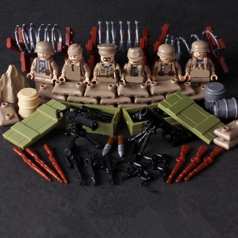 6pcs German Army World War Military Gun Weapon SWAT Soldier Navy Seals Team Building Blocks Brick Figures Boy Toy Children Gift