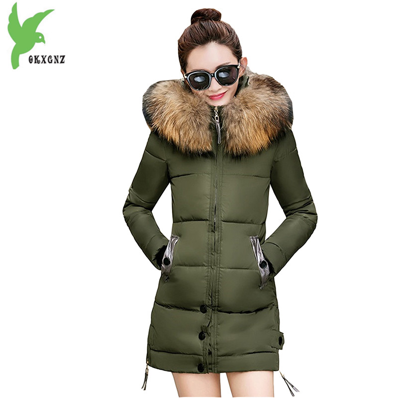 Winter Women Down Cotton Solid Color Hooded Coats Fur Collar Thicker Keep Warm Cotton Jackets Casual Tops Outerwear OKXGNZ A669 new winter women cotton jackets solid color hooded long coat plus size fur collar thicker warm slim casual outerwear okxgnz a795