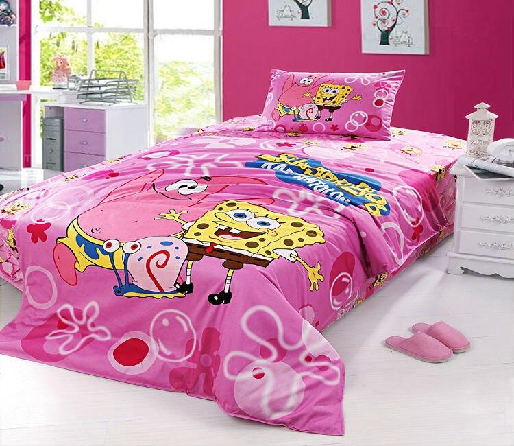 Pink Spongebob Twin Full Bedding Set Girls Duvet Cover Kids Cartoon 100 Cotton Quilt Cover Bed