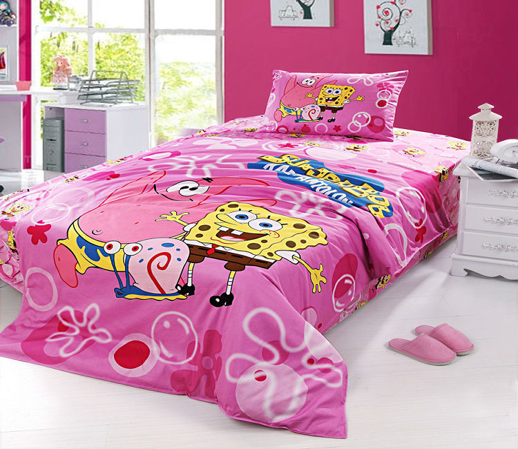 Pink Spongebob Twin Full Bedding Set Girls Duvet Cover Kids Cartoon 100  Cotton Quilt Cover Bed