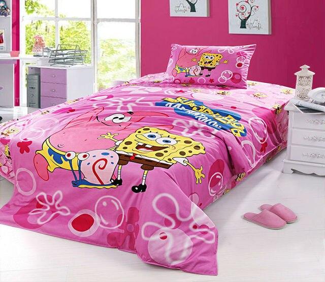 Pink Spongebob Twin Full Bedding Set S Duvet Cover Kids Cartoon 100 Cotton Quilt Bed
