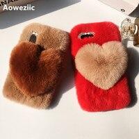 Aoweziic الخريف والشتاء جديد للآيفون x 8 7 زائد ريكس أرنب أفخم حالة الهاتف لطيف القلب 6 ثانية لينة حافة قذيفة المد الإناث