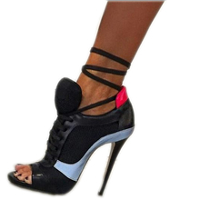 Hongyi römischen sport sandalen frauen masche schuhe gaze offene spitze pumpen Lace Up Knöchelriemen High Heel Stilettos Hippie Punk Schuhe