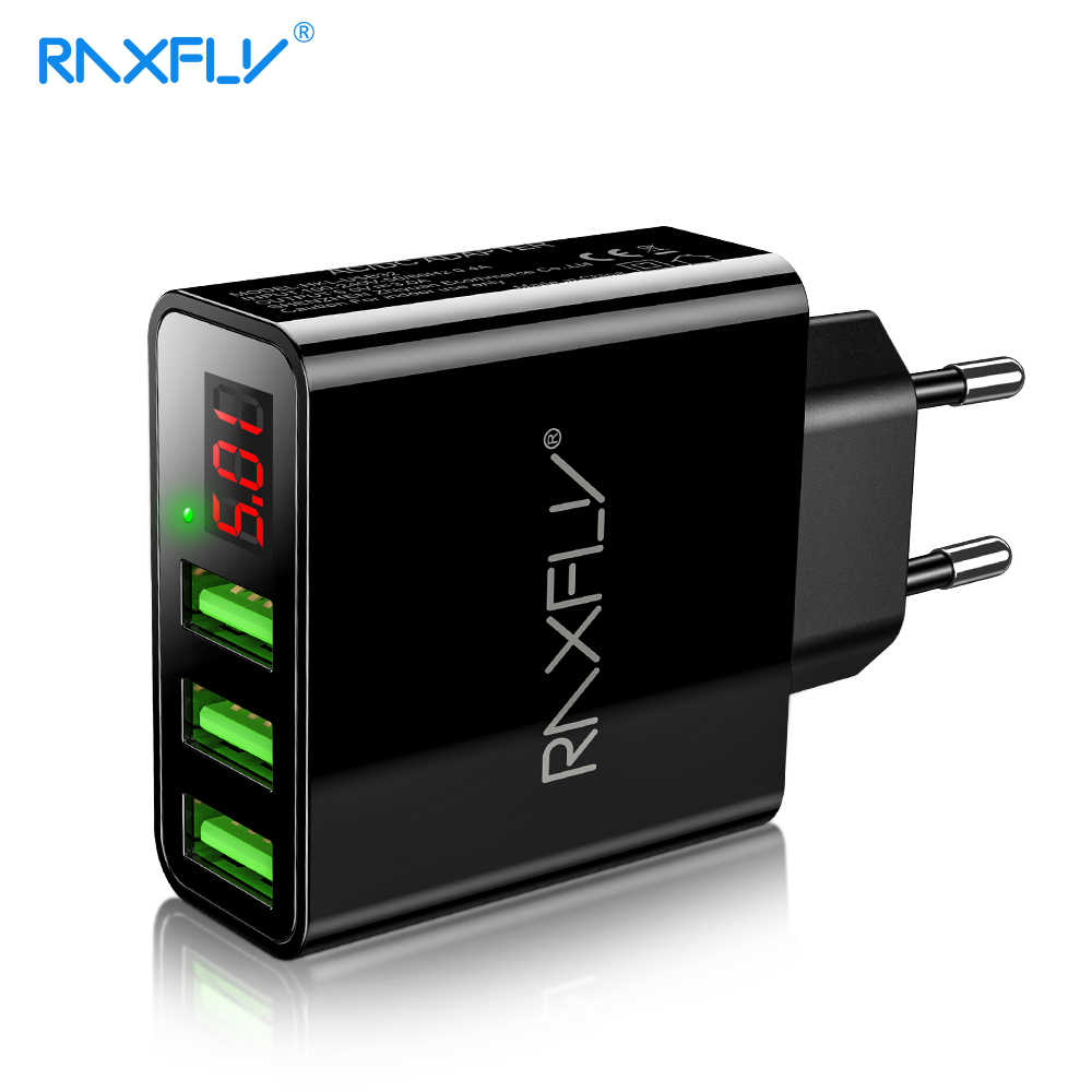 Raxfly Universal USB Charger Adapter LED Digital 3 Port Charger Ponsel untuk iPhone Xiaomi Uni Eropa US Plug Dinding Perjalanan charger