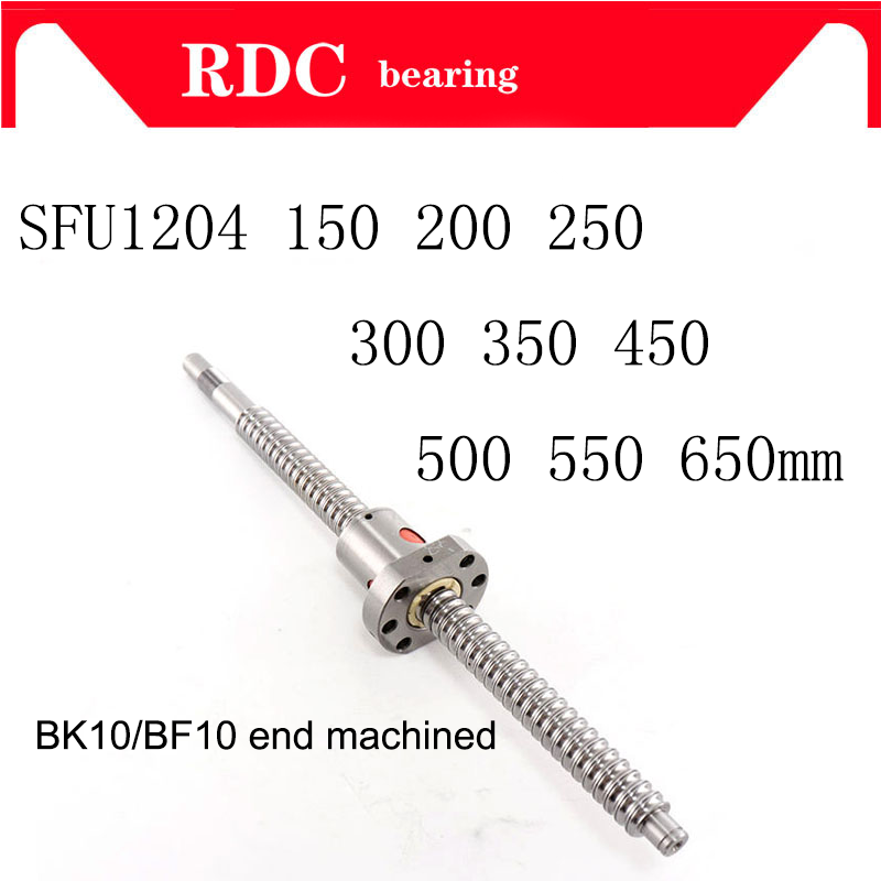 FREE SHIPPING machined SFU1204 <font><b>150</b></font> <font><b>200</b></font> 250 300 350 400 450 500 550 600 650 mm cold roller ball screw with 1204 single ball nut image