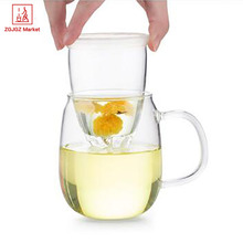 Samadoyo Glass Tea Mug 500ml Food Grade Stainless Steel Lid Flower Teapot Handmade Coffee Mugs with Handgrip S016B