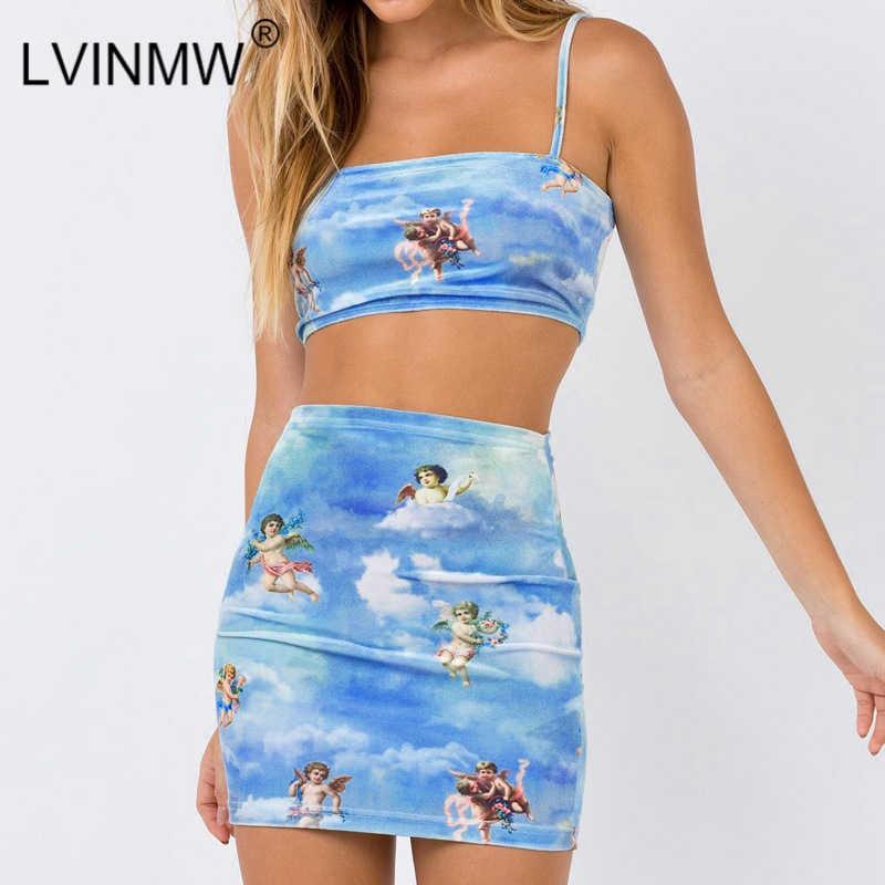 LVINMW セクシーな天使キューピッドプリントボディコン 2 個セットファッション 2019 夏の女性のキャミソールクロップトップとハイウエストミニスカート