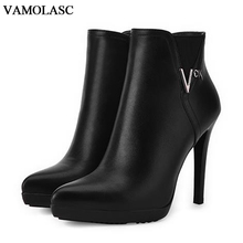 VAMOLASC New Women Autumn Winter Leather Ankle Boots Sexy Pointed Toe Zipper Thin High Heel Martin