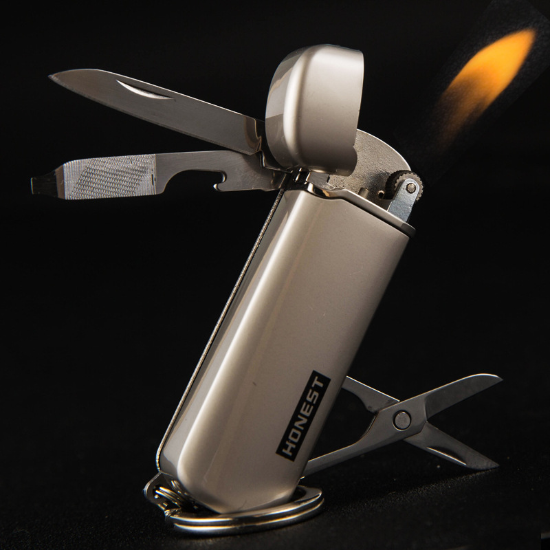 Multifunction Gas Cigarette Lighter Butane Gas Tobacco Pipe Lighter with Outdoor Tools...