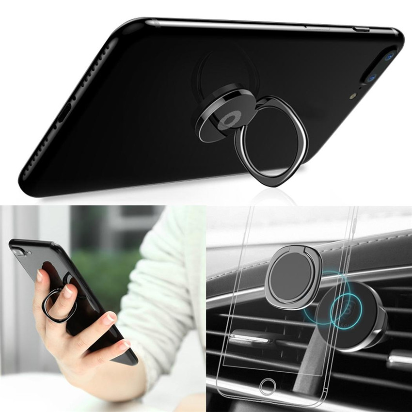 Universal 360 Rotation Zinc Alloy Finger Ring Stand Phone Holder Sticky On Phone Back 180 Fold Suitable For Mobile Phone And Pad