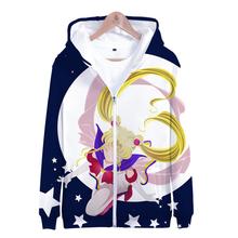 Gorąca 3D druku Sailor Moon zamek bluzy z kapturem kobiety mężczyźni moda bluzy bluzy z kapturem Sailor Moon 3D Zip Up jesień zima dziewczyna bluza z kapturem tanie tanio Rholycrown Poliester Na co dzień Suknem Pełna REGULAR Drukuj Zip-up Sailor Moon Zipper hoodies Chiny (kontynentalne) women