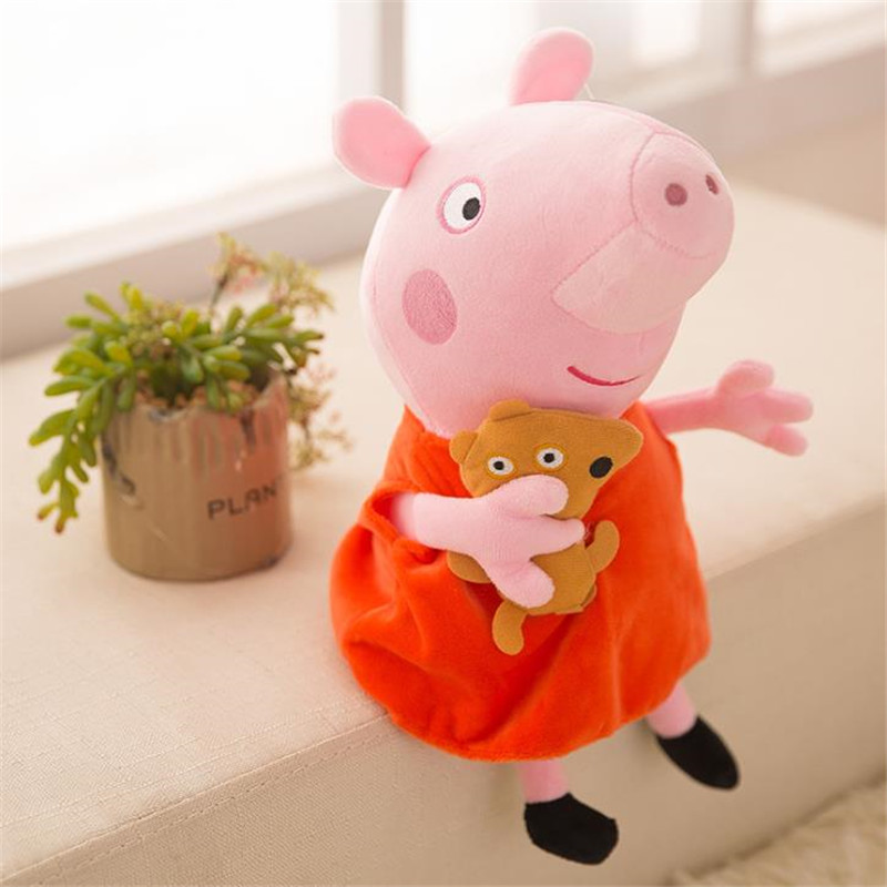 25 CM Anime Peppa Pig George Peppa Family Plush Toys Baby Pet Doll Soft Stuffed Toys Birthday Gifts For Children free shipping new 4 pcs set family pig plush doll soft toy father and mother pig and george 7 8 19 30 cm retail page 2