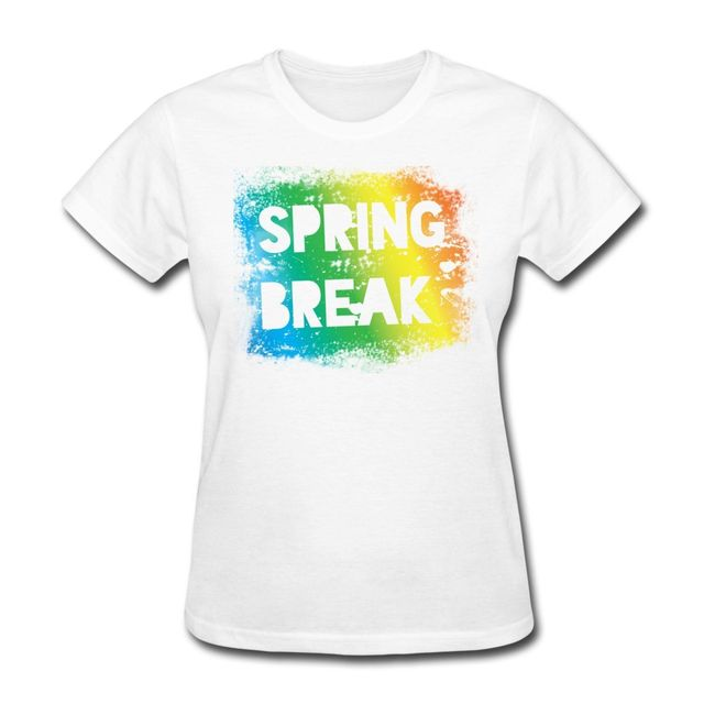 Spring T Shirt Designs   Spring Break Rainbow Colors Women S T Shirt Summer Women Short