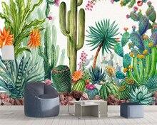 цена на Beibehang Wallpaper home decor tropical rainforest plant cactus background wall living room bedroom tv background 3d wallpaper