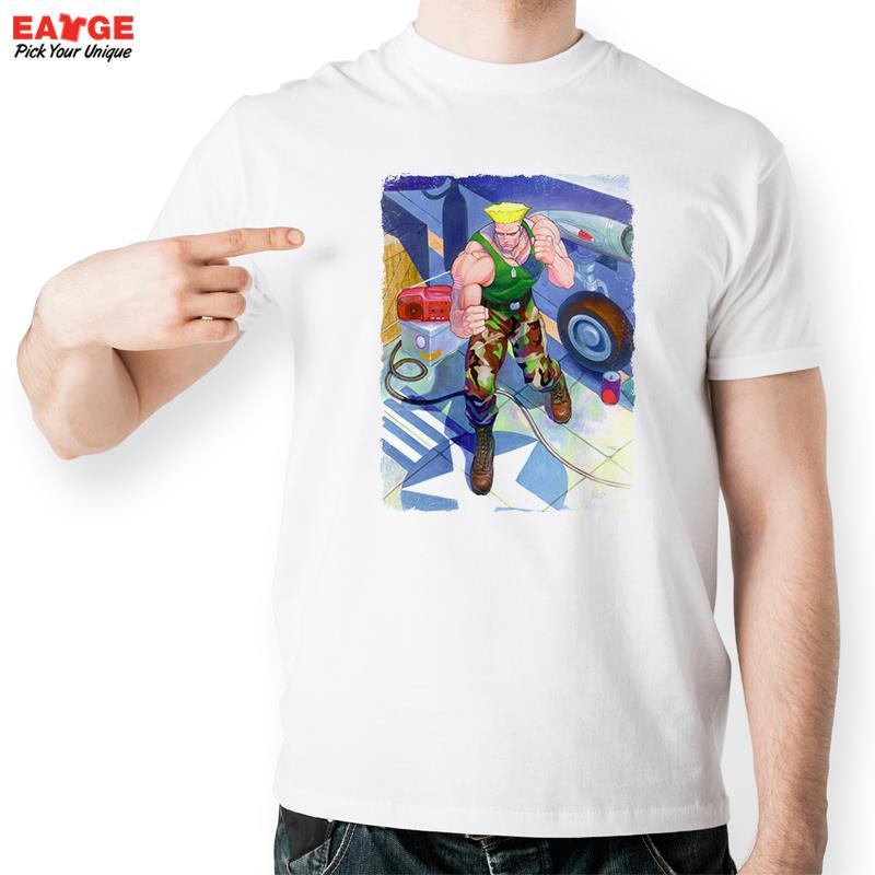 Street Fighter Guile Camiseta Pintura de Agua de Diseño de Personajes de Videoju