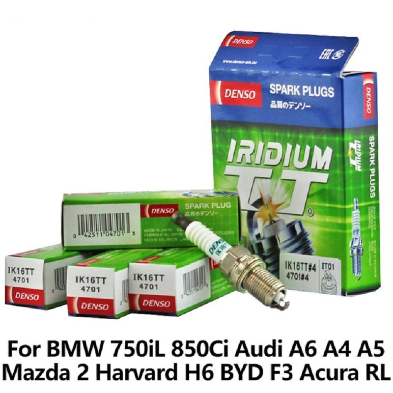 4pieces/set DENSO Car Spark Plug For BMW 750iL 850Ci Audi A6 A4 A5 Mazda 2  Harvard H6 BYD F3 Acura RL Vios double iridium IK16TT