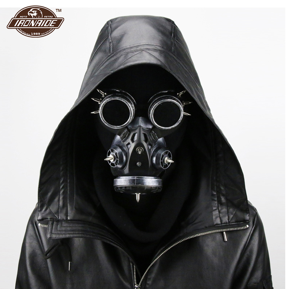 Motorcycle Face Mask Balaclava Face Shield Retro Motorcycle Mask Motorcycle PU Leather Mask Cosplay Gas Mask Halloween цены