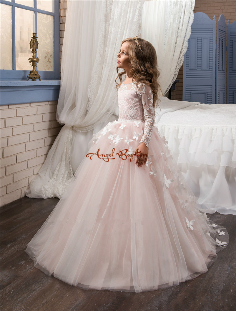 2017 Pretty pink lace flower girls dresses appliqued tulle long sleeve with train ball gown party wedding girls dresses ободки pretty mania ободок