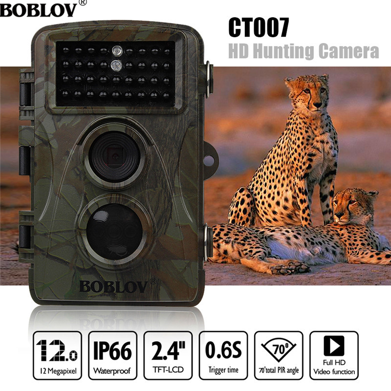 BOBLOV CT007 HD 1080P 12MP Hunting Camera Scouting Trail Camera Game Wildlife IR LED Night PIR Motion Detection 0.6S TriggerTime 12mp hd 1080p black ir game hunting scouting camera ip66 super long detection range up to 75ft 2 0 lcd ir game hunter cam