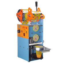цены Wholesale and Retail Guaranteed 100% New Orange Manual Plastic Cup Sealing Machine 220V (standard cup dia:7cm,7.5cm,9.5cm)