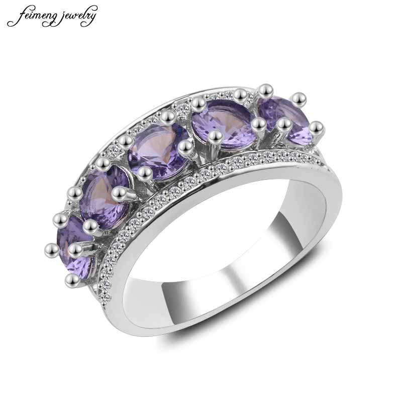 Men Women White Purple Zircon Ring Wedding Rings High ...
